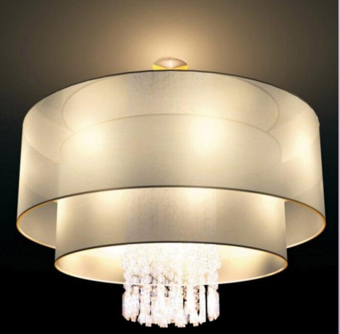 lustres à tambour fabriqués en porcelaine taille usine D 750 H 650 nuances de tissu avec perles de cristal et verre